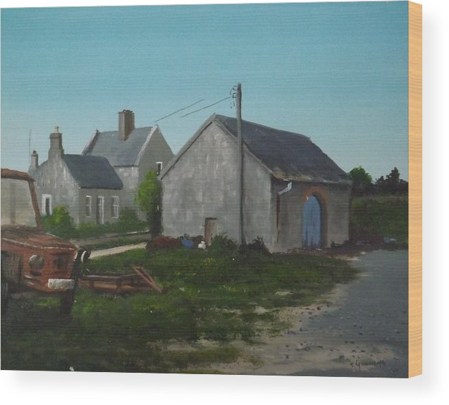 Buildings Wood Print featuring the painting Donamon Railway Station by Tony Gunning