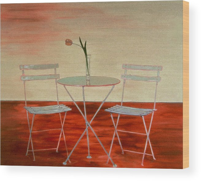 Still Life Wood Print featuring the painting Double Espresso by Oudi Arroni