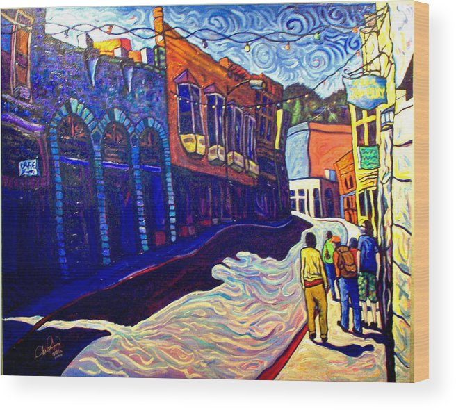 Downtown Wood Print featuring the painting Downtown Bisbee by Steve Lawton