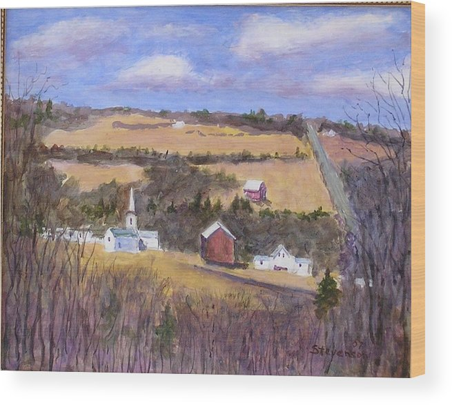 Landscape Wood Print featuring the painting Downtown Moreland by Joseph Stevenson