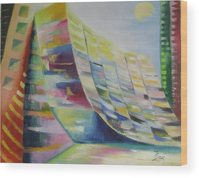 Abstract Wood Print featuring the painting Dream City No.6 by Lian Zhen
