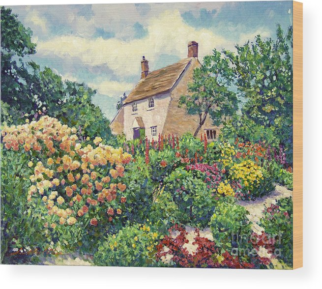 Impressionist Wood Print Featuring The Painting English Cottage Garden By David Lloyd Glover