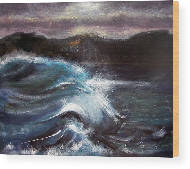 Waves Wood Print featuring the painting Evening Wave by Valerie Wolf