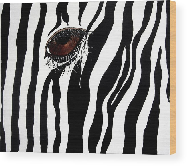 Animal Wood Print featuring the painting Eye Spy 2 by Sharon Supplee