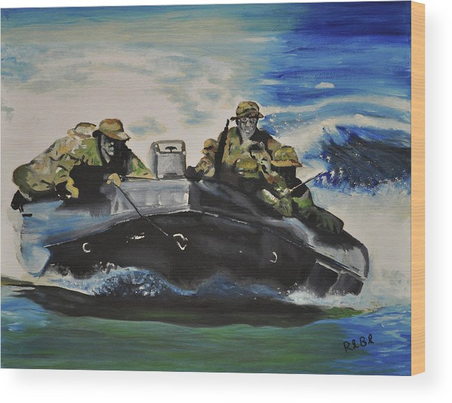 Navy Seals Wood Print featuring the painting Fast With Fury by Ruben Barbosa