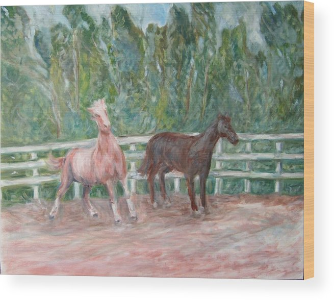 Horse Landscape Animals Wood Print featuring the painting Fenced In by Joseph Sandora Jr