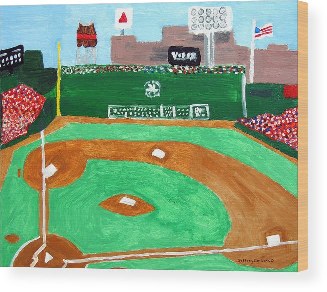 Fenway Park Wood Print featuring the painting Fenway Park by Jeff Caturano