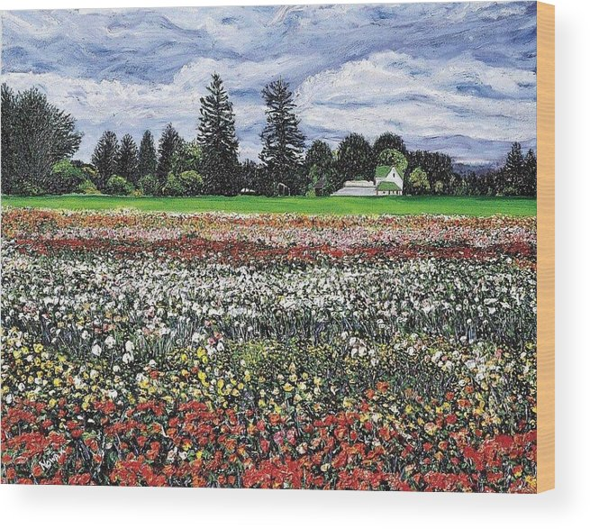 Flowers Wood Print featuring the painting Field Of Flowers by Richard Nowak