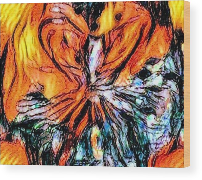 Fiery Crystal Wood Print featuring the pastel Fiery Crystal by Brenae Cochran
