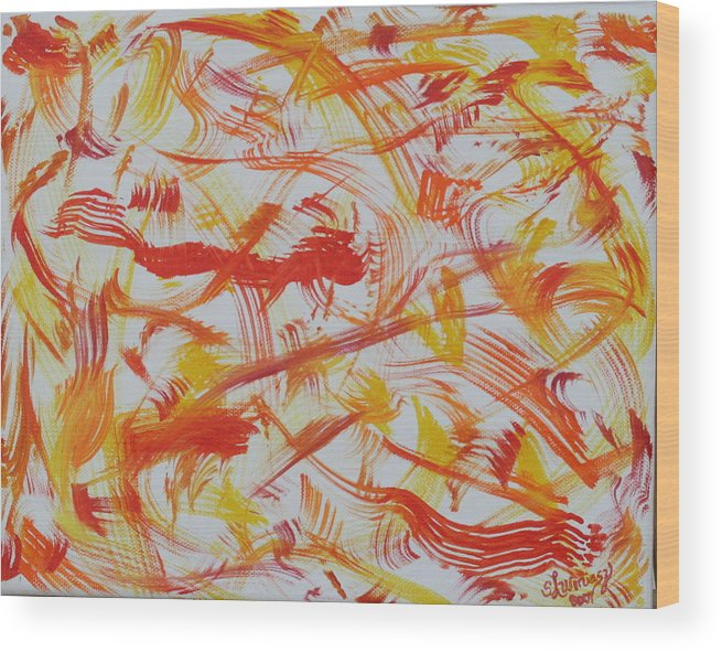 Abstract. Fire Wood Print featuring the painting Fire Nymphs by Sandra Winiasz