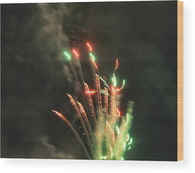 Fireworks Wood Print featuring the photograph Fireworks by Debbie Levene