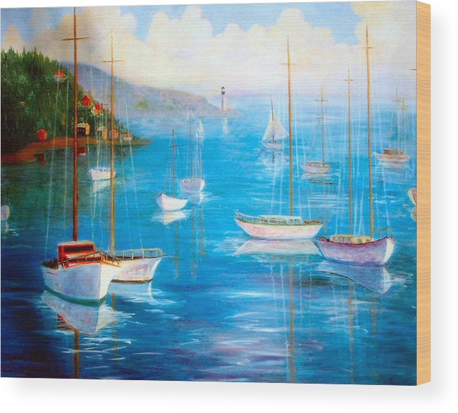 White Fishing Boats Wood Print featuring the painting Fishing Port by Jeanene Stein