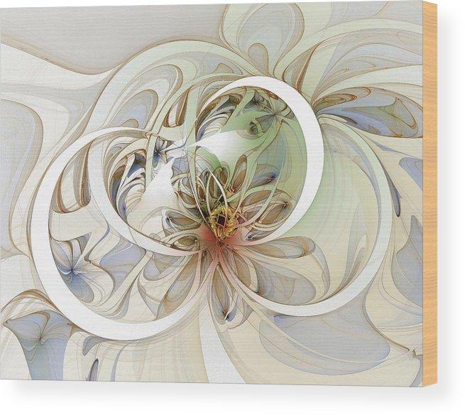Digital Art Wood Print featuring the digital art Floral Swirls by Amanda Moore