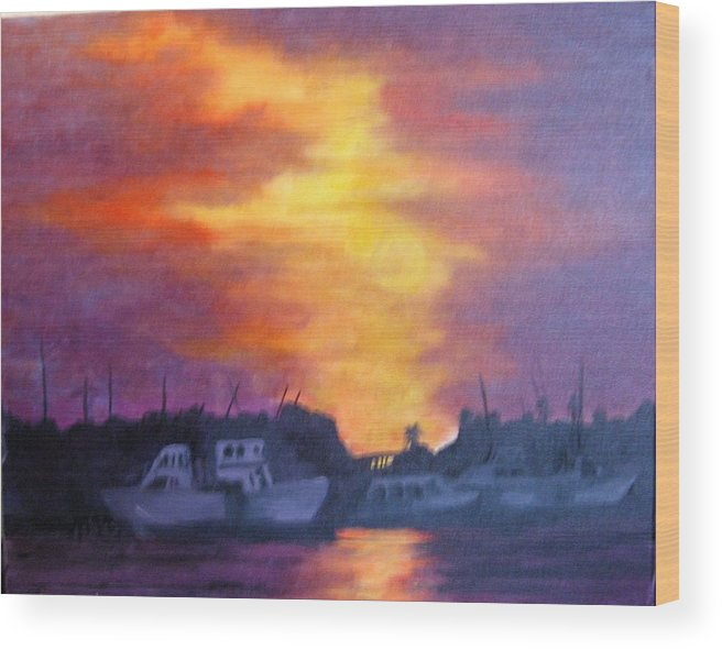 Sunset Wood Print featuring the painting Florida Keyes Sunset by Colleen DalCanton