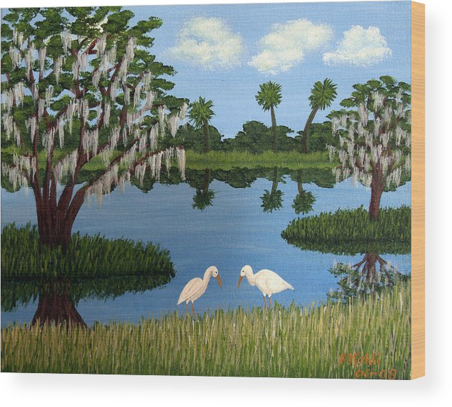 Landscape Paintings Wood Print featuring the painting Florida Wetlands by Frederic Kohli