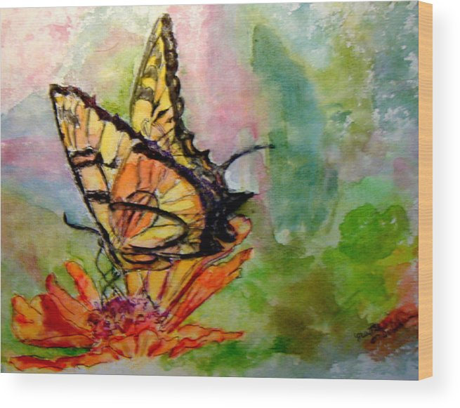 Butterfly Wood Print featuring the painting Flutterby - Watercolor by Donna Hanna