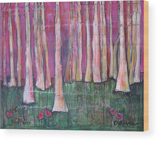 Aspen Trees Wood Print featuring the painting For Page Turner by Laurie Maves ART