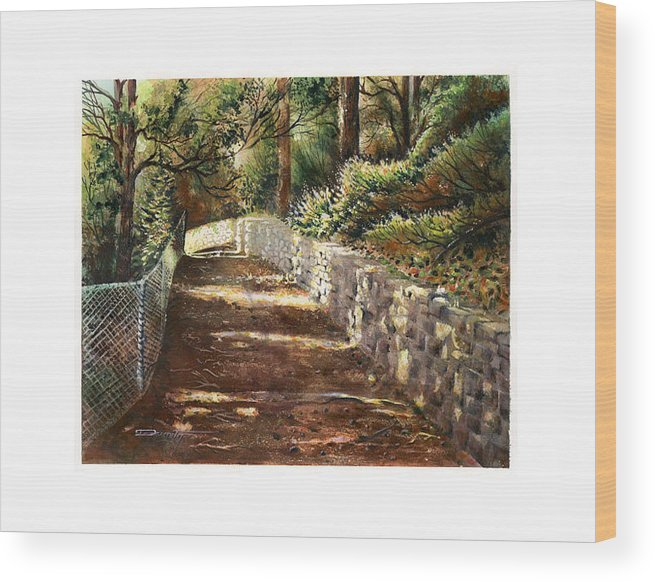 Landscape Wood Print featuring the painting Forest Path White Cliff by Dumitru Barliga