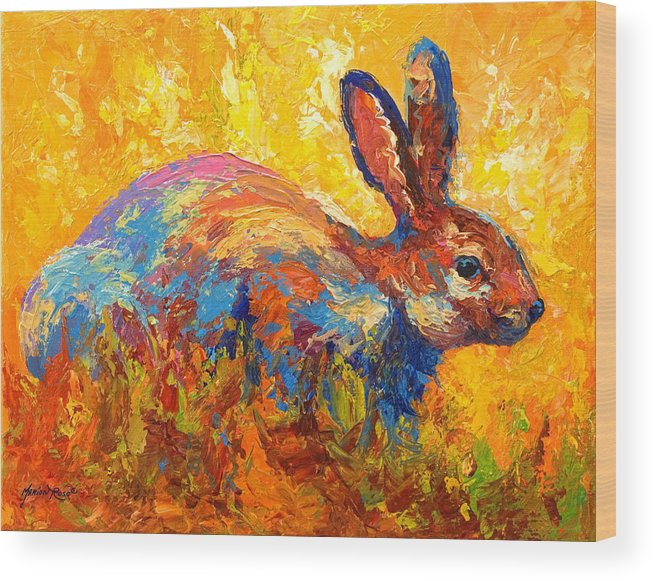 Rabbit Wood Print featuring the painting Forest Rabbit II by Marion Rose