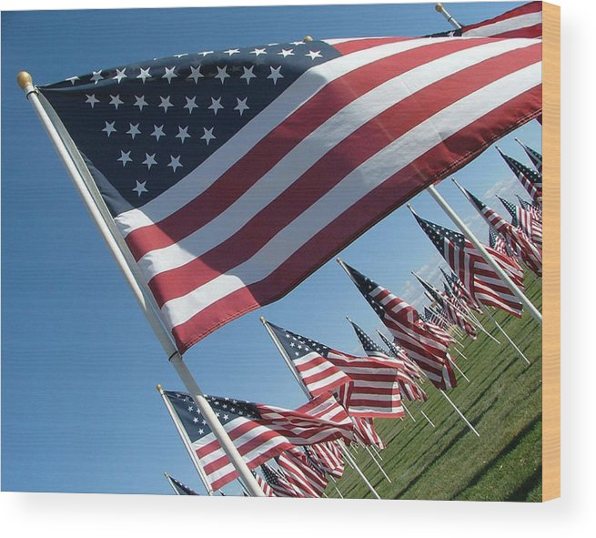 Flag Wood Print featuring the photograph Forever Flags by Dawn Blair