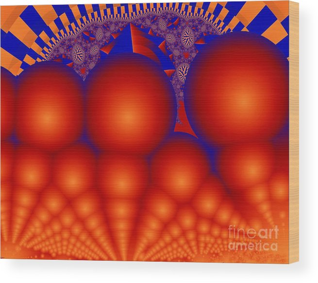 Fractal Image Wood Print featuring the digital art Formation Of Red Orbs by Ron Bissett
