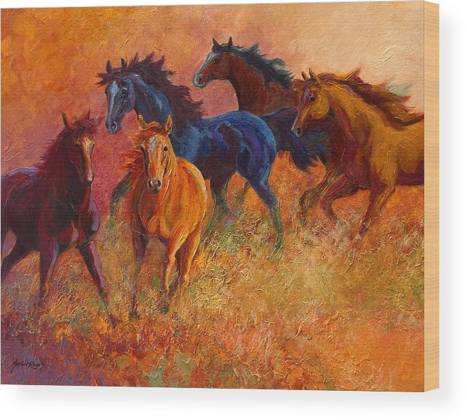 Horses Wood Print featuring the painting Free Range - Wild Horses by Marion Rose