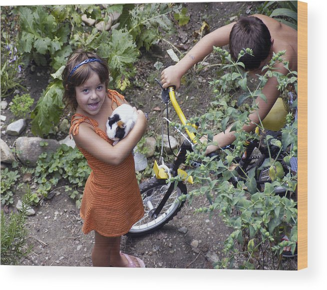 Photo Wood Print featuring the photograph French Jeune Fille With Guinea Pig by Mirinda Kossoff
