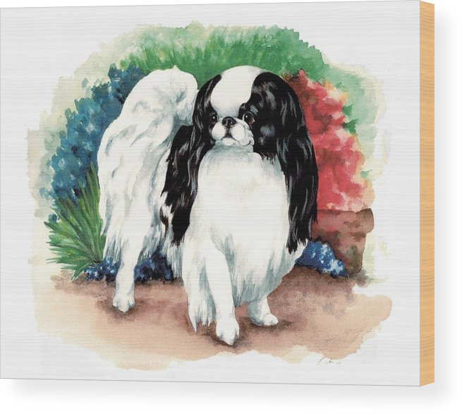 Japanese Chin Wood Print featuring the painting Garden Chin by Kathleen Sepulveda