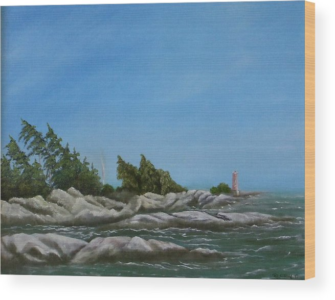 Landscape Wood Print featuring the painting Georgian Bay by Rebecca Fitchett