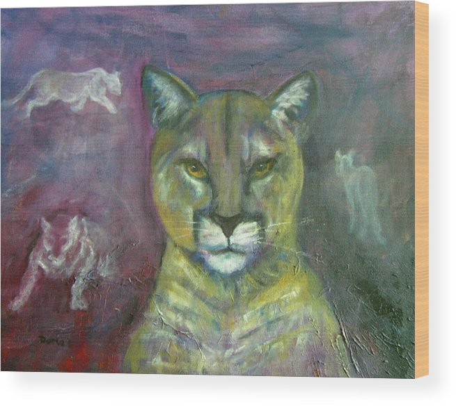 Wildlife Wood Print featuring the painting Ghost Cat by Darla Joy Johnson