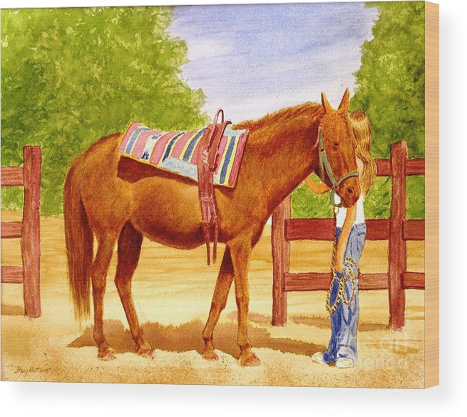 Equine Wood Print featuring the painting Girl Talk by Stacy C Bottoms