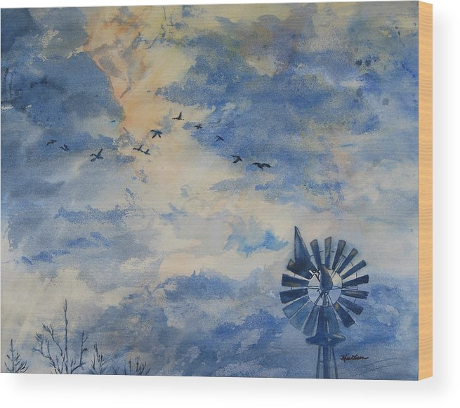 Landscape Wood Print featuring the painting Going Home by Kris Dixon