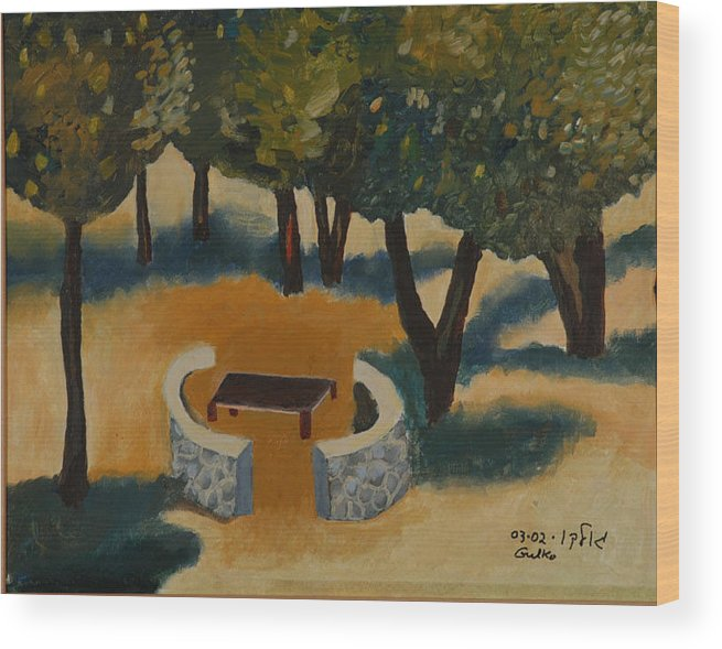 Picnic Countryside Wood Print featuring the painting Golan Picnic Area  by Harris Gulko