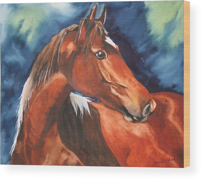 Horse Wood Print featuring the painting Golden Boy by Jean Blackmer