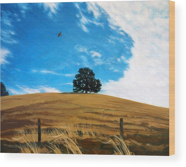 Golden Hills Wood Print featuring the painting Golden Hills Summer Sky by Jill Iversen