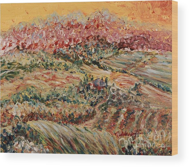 Provence Wood Print featuring the painting Golden Provence by Nadine Rippelmeyer