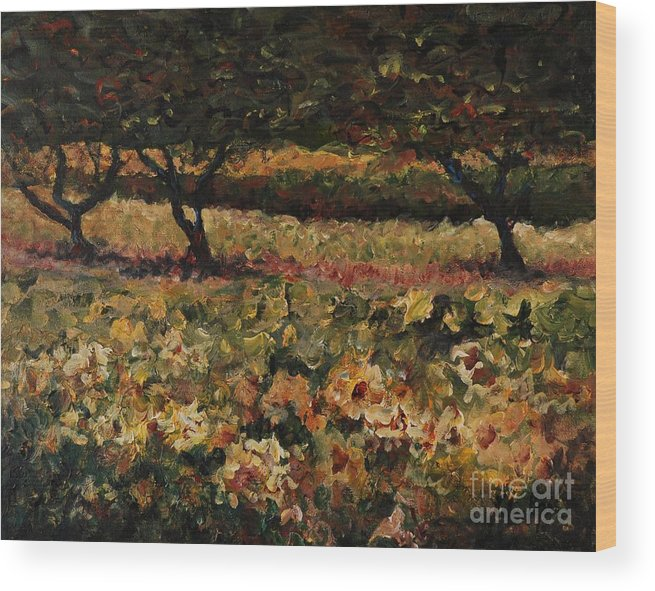 Landscape Wood Print featuring the painting Golden Sunflowers by Nadine Rippelmeyer