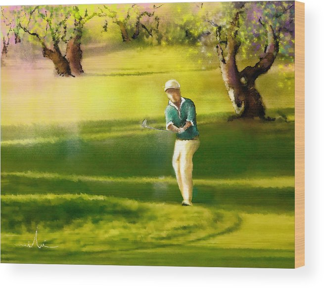 Sports Wood Print featuring the painting Golf In Spain Castello Masters 02 by Miki De Goodaboom