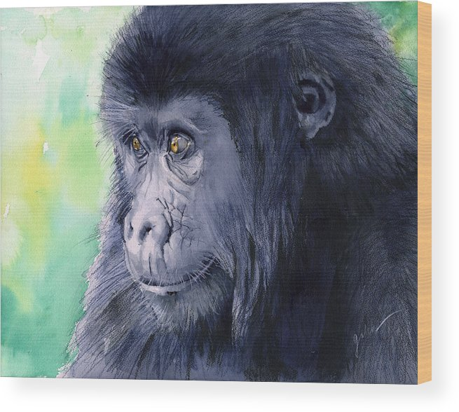 Gorilla Wood Print featuring the painting Gorilla by Galen Hazelhofer