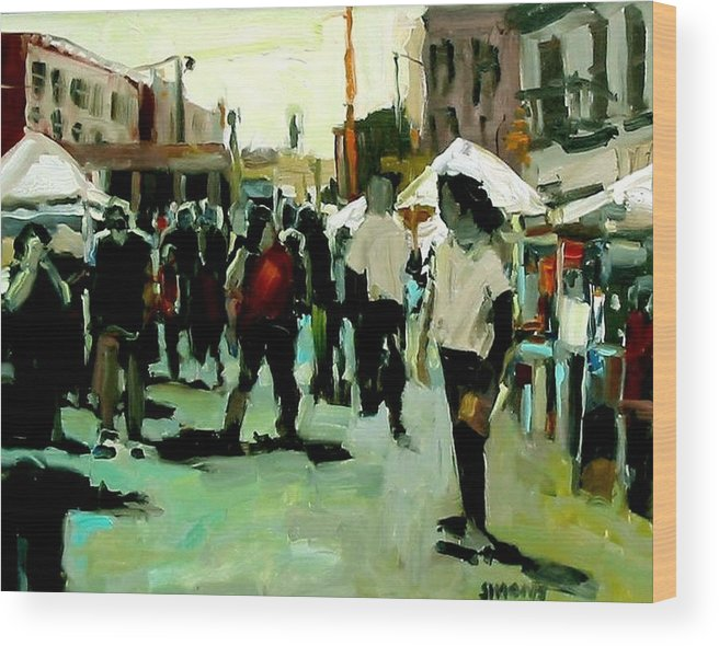 Cityscape Paintings Wood Print featuring the painting Government Street by Brian Simons
