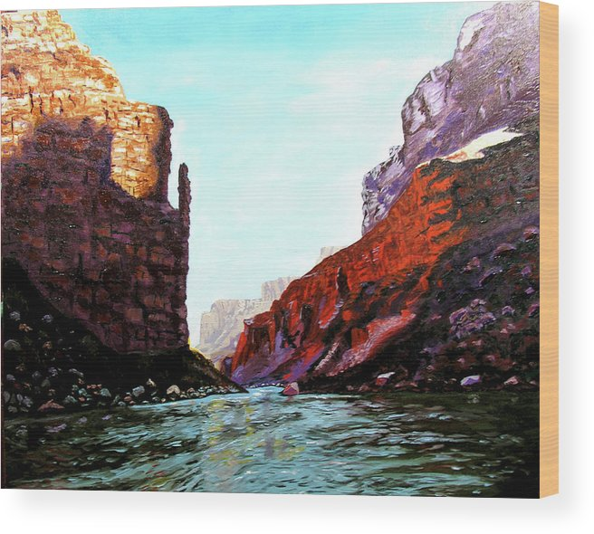 Original Oil On Canvas Wood Print featuring the painting Grand Canyon Iv by Stan Hamilton