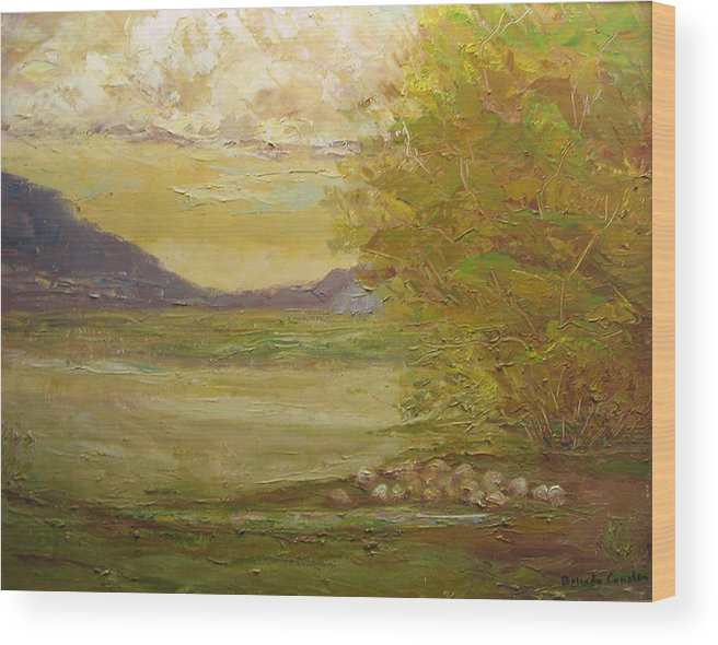 Landscape Wood Print featuring the painting Grazing Sheep New Mexico Usa by Belinda Consten
