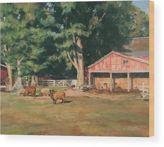 Sheep Wood Print featuring the painting Grazing Sheep by Robert Tutsky