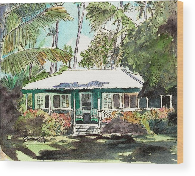 Cottage Wood Print featuring the painting Green Cottage by Marionette Taboniar