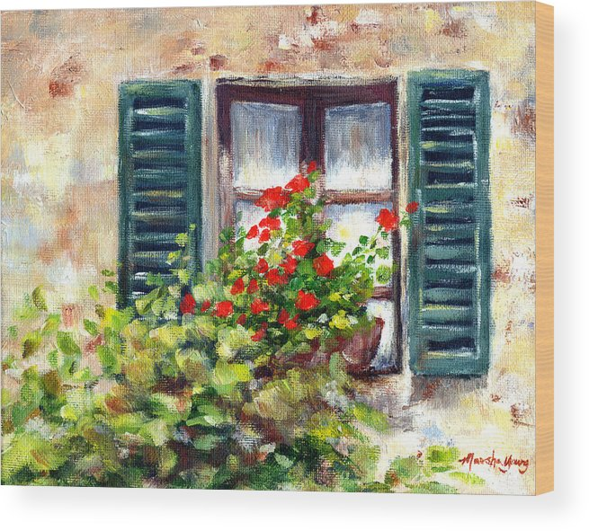 Floral Wood Print featuring the painting Green Shutters by Marsha Young