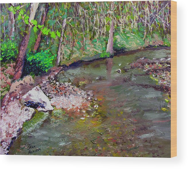 Plein Air Wood Print featuring the painting Gressy Creek by Stan Hamilton