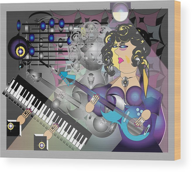 Music Wood Print featuring the digital art Guitar Lady by George Pasini