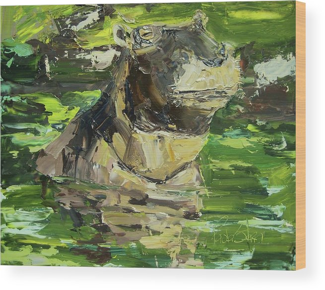 Landscape Wood Print featuring the painting Happy Hippo by Paula Stern