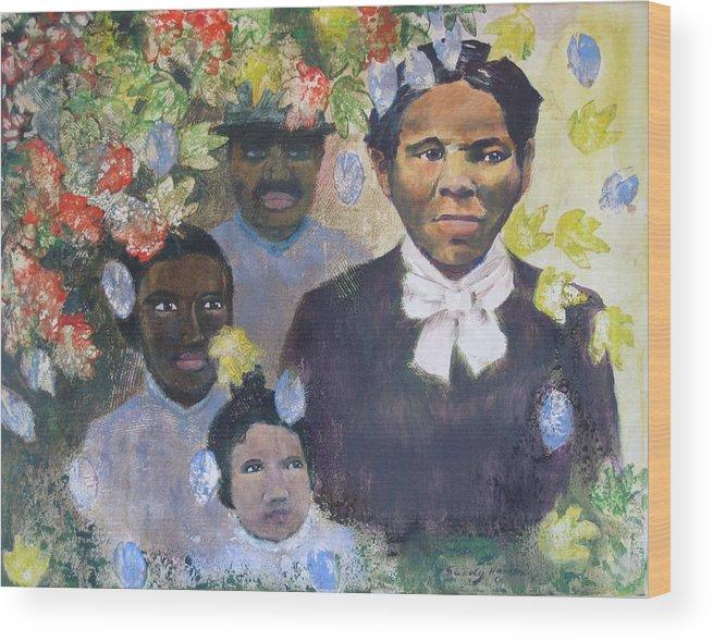 Harriet Tubman Wood Print featuring the painting Harriet Tubman- Tears Of Joy Tears Of Sorrow by Art Nomad Sandra Hansen