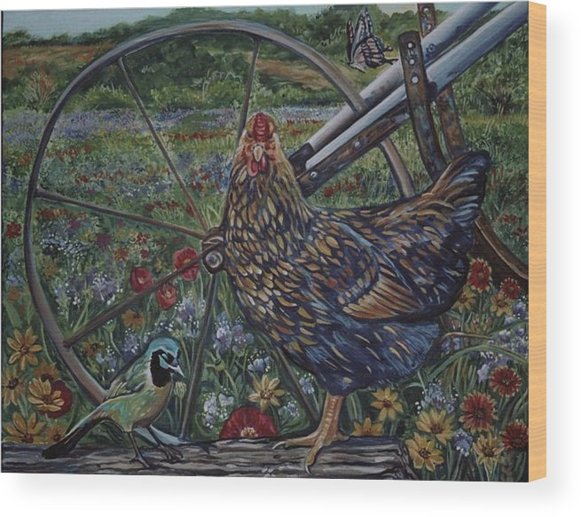 Animal Wood Print featuring the painting Hen And Plow Wheel by Diann Baggett